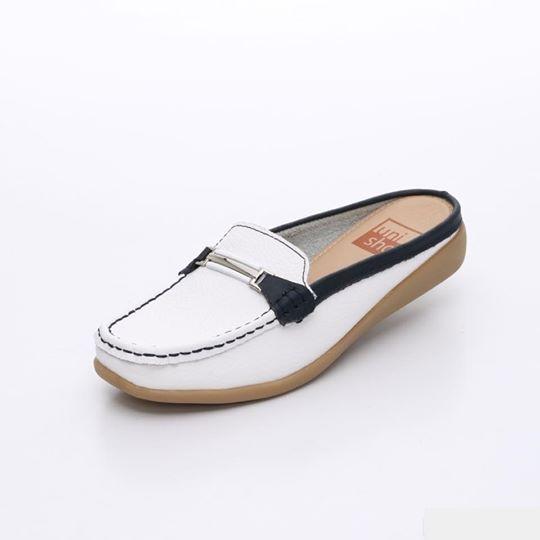 UNISHO Women Flats Leather Designer_Shoes - U1007 BLUE/WHITE