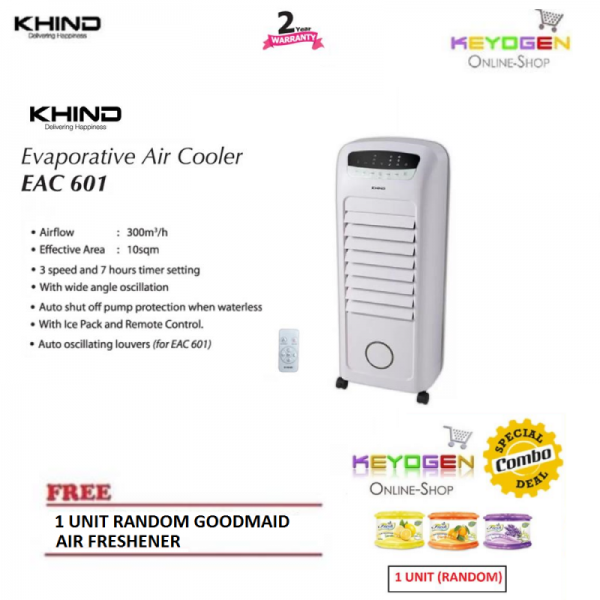 Khind Evaporative Air Cooler EAC600 with Remote Control - 6L tank FREE 1 Unit Random Goodmaid Air Freshener