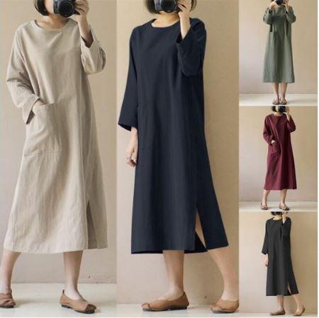 Women\'s Plus Size 3/4 Sleeve Loose Cotton Long Dress