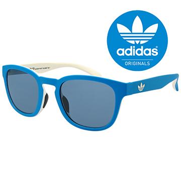 (adidas)[Adidas Adidas] Classic Adidas Blue White Shamrock LOGO Sunglasses/Sports Glasses # Blue Frame Grey Mirror (001-027-001)