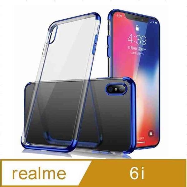 Realme 6i Electroplating Frame Transparent Phone Case Protective Case