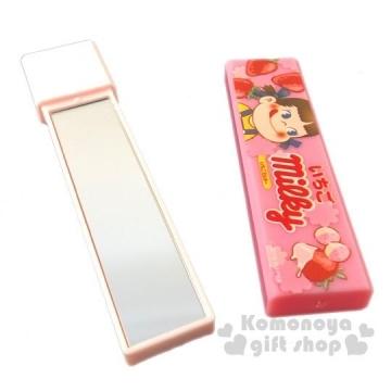 小禮堂 不二家PEKO 日製長條型隨身雙面鏡《粉.草莓》放大鏡.隨身鏡