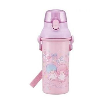 小禮堂 雙子星 日製直飲式水壺附背帶《紫.盪鞦韆》480ml.水瓶.兒童水壺