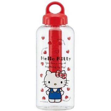小禮堂 Hello Kitty 透明隨身冷水瓶 運動水壺 塑膠水瓶 兒童水壺 580ml (紅蓋 愛心)