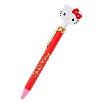 小禮堂 Hello Kitty 造型原子筆 自動原子筆 黑筆 金屬筆夾 (紅 大臉文具)