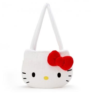 小禮堂 Hello Kitty 造型絨毛側背袋 大頭包 絨毛手提袋 側背包 (紅白 大臉)