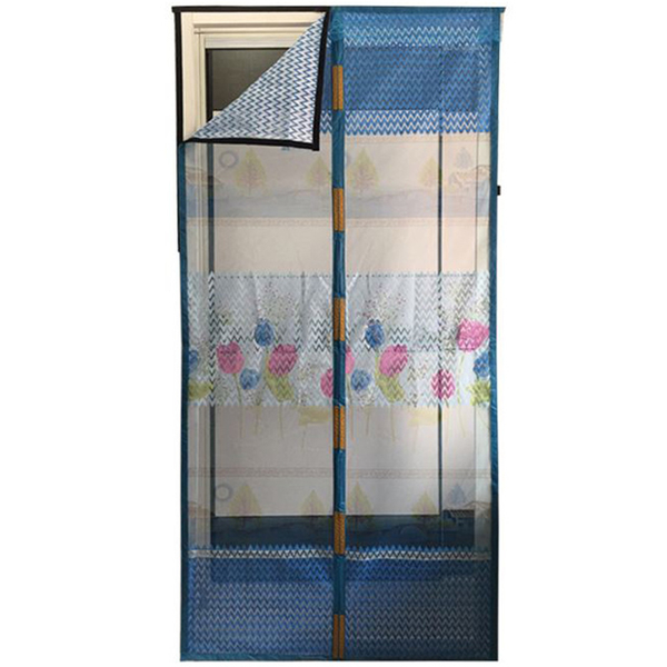 Magnetic automatic closing velcro yarn mosquito curtain standard size 210 * 90 moon and stars / blue
