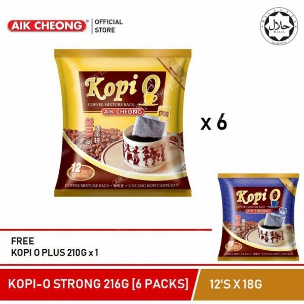 AIK CHEONG Kopi O strong 216G (6 PACKS) + FREE Kopi O Plus 210g