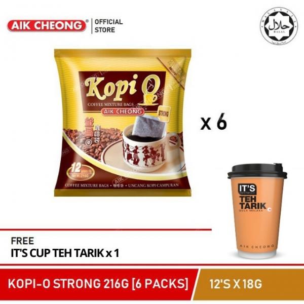 AIK CHEONG Kopi O strong 216G (6 PACKS) + FREE IT\'S CUP TEH TARIK 72G