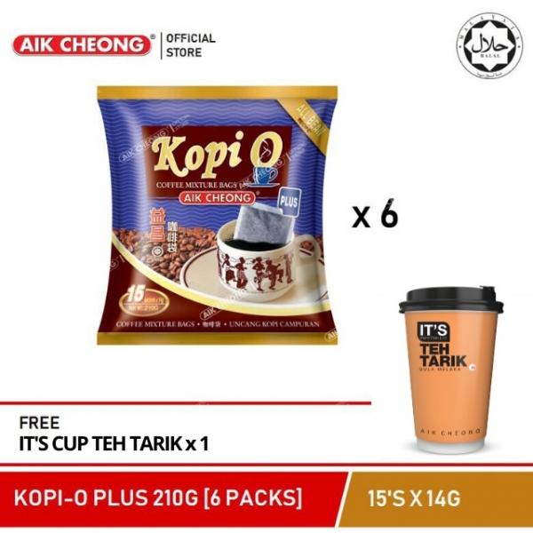 AIK CHEONG KOPI O PLUS 210G (6 PACKS) + FREE IT\'S Cup Teh Tarik 72g