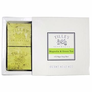 Tilley百年特莉木蘭花&綠茶植物皂4入禮盒(4x50gm)