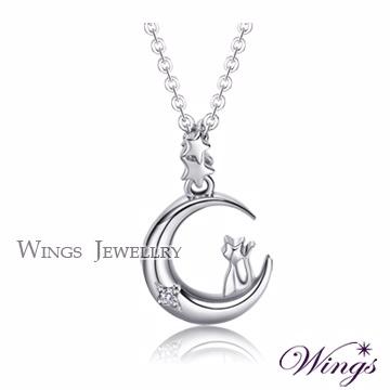 (WINGS)Wings moon wizard delicate kitten cute white K plated necklace