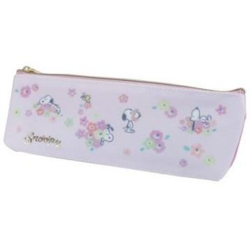 小禮堂 史努比 尼龍拉鍊筆袋 鉛筆盒 筆袋 牙刷收納袋 (粉 花朵)