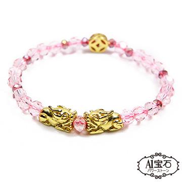 [A1 Gem] Money Gun Money Double Pixiu-Pink Crystal Glazed Agate Bracelet-Powerful Lucky Peach Blossom Prosperity (Including Medal Blessing)