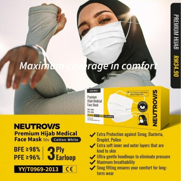 Neutrovis 3 PLY Head Loop Premium HIJAB Medical Face Mask ( Cotton White ) 50\'s