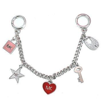 MICHAEL KORS sugar porcelain love key lock style bag strap (red / silver chain)