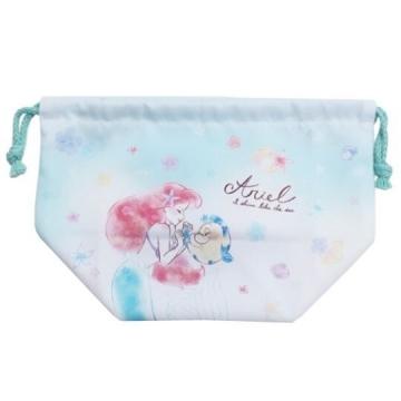 "Disney Little Mermaid Japanese Cotton Beam Lunch Bag ""Green and White. Holding Hands"" Shrink Pocket. Storage Bag"