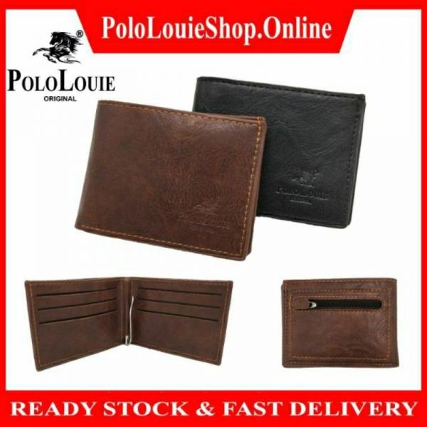 Original Polo Louie Men Leather Slim Money Clip Wallet Card Holder Zip Coin Purse