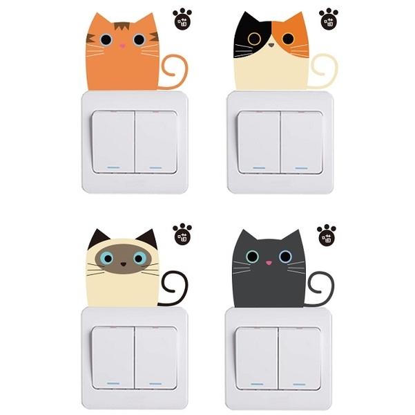 iStyle創意壁貼 貓咪系列開關貼(四組)