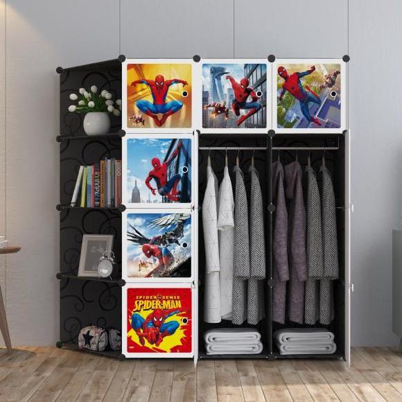 MALAYSIA: SPIDERMAN Black 12 cube C DIY Multipurpose Portable Wardrobe Cabinet Clothes Storage Organizer Almar