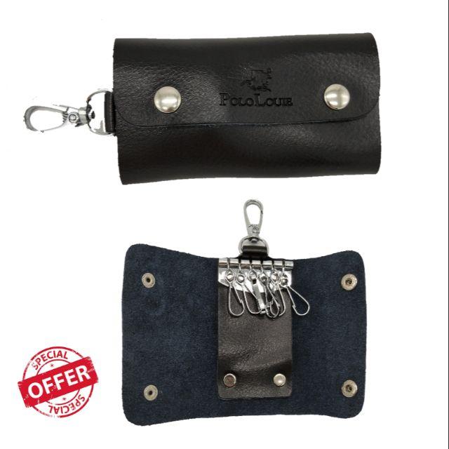 POLO LOUIE Keychain Holder Wallet PU Leather Men\'s Women Unisex