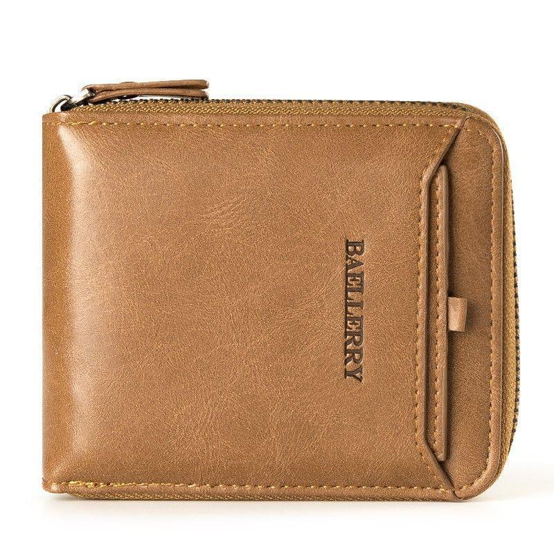 READY STOCK Men\'s Women Wallets Leather Purse Male Zipper Coin&Card Holder -BAELLERRY D3124