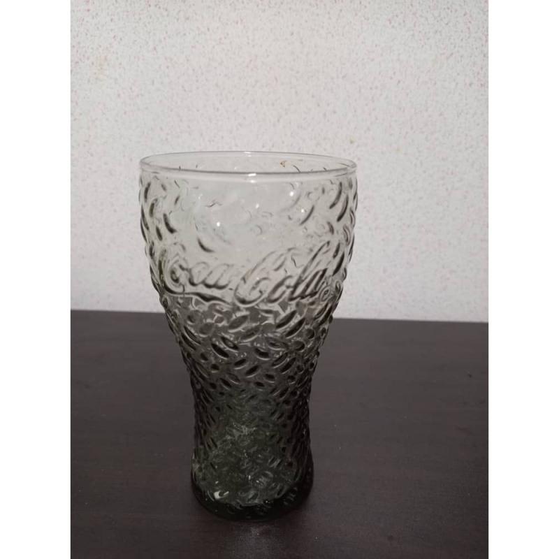 Coca Cola Glass Cup Tumbler Green Dimple Bubble