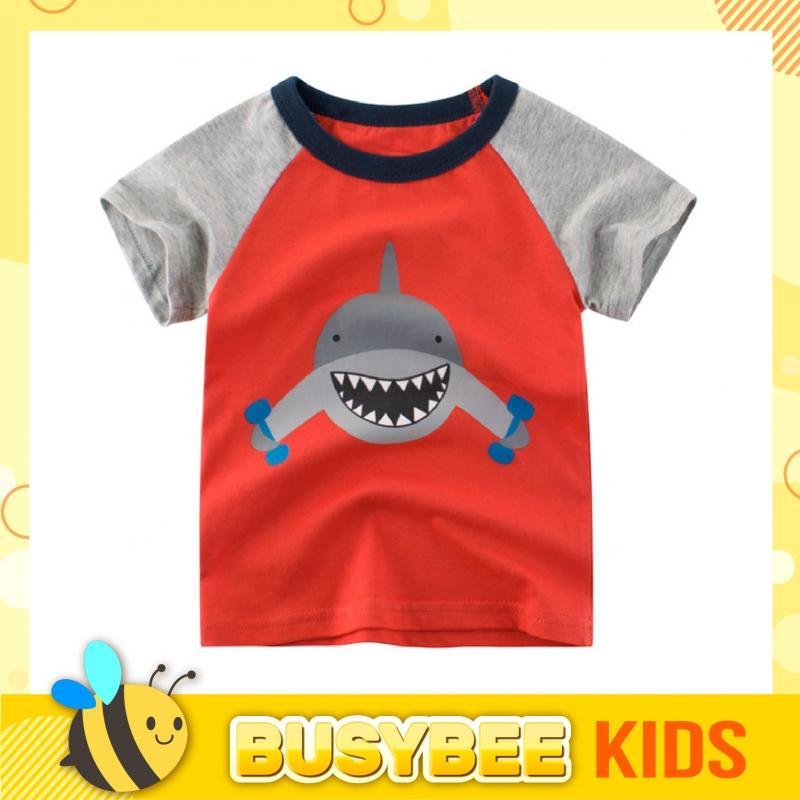 Kids T-shirt 1-10 years old boys girls Short raglan sleeve Shark graphic Baju kanak-kanak lelaki umur 1-10 grafik Jerung