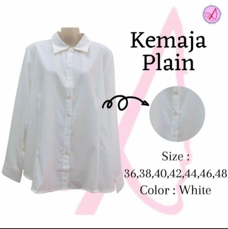 ATIKA Kemeja Plain; Color White & 7 Sizes (36-48); Material Cotton Silk; Tidak Jarang, & Sejuk; Leher Berkolar