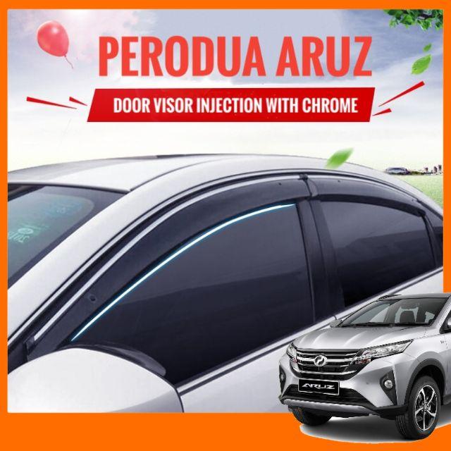 "Perodua Aruz Door Visor Injection With Chrome Window Visor Air Press 4"""