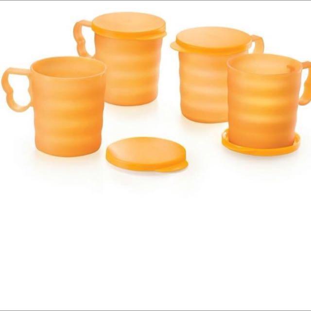 TUPPERWARE CARIBBEAN MUGS 350ML (4 CUPS WITH LID)
