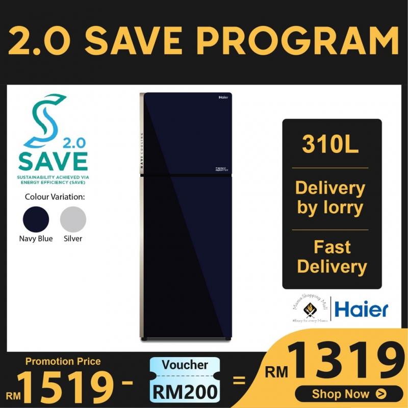 Haier 284L 2 Door Glass Twin Inverter Refrigerator Fridge Peti Sejuk HRF-318IHG