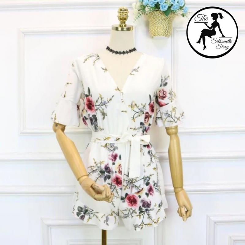 White Women Floral Print Jumpsuit Boho Short Sleeve Rompers Playsuit