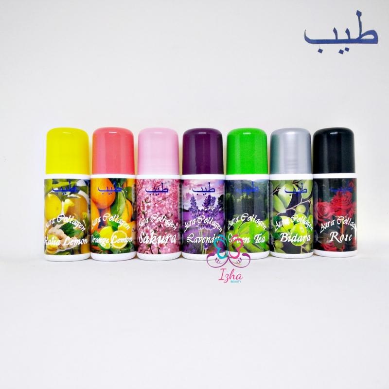 [7 botol] Aura Collagen Halia Lemon + Orange Lemon + Sakura Pink + Lavender + Green Tea + Rose + Bidara