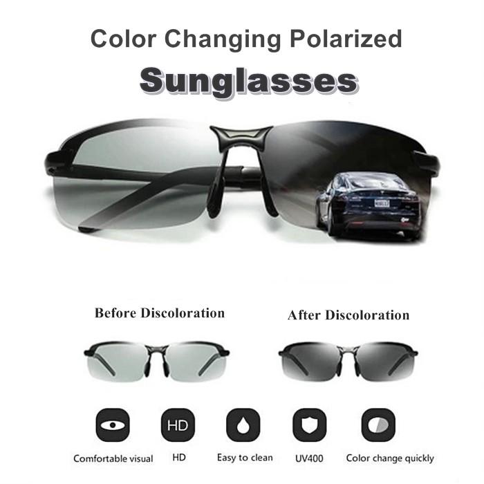 MALAYSIA ] 2 DLM 1 CERMIN MATA BERTUKAR WARNA BIASA+HITAM / Black Top Quality Color Changing HD Polarized Sunglasses