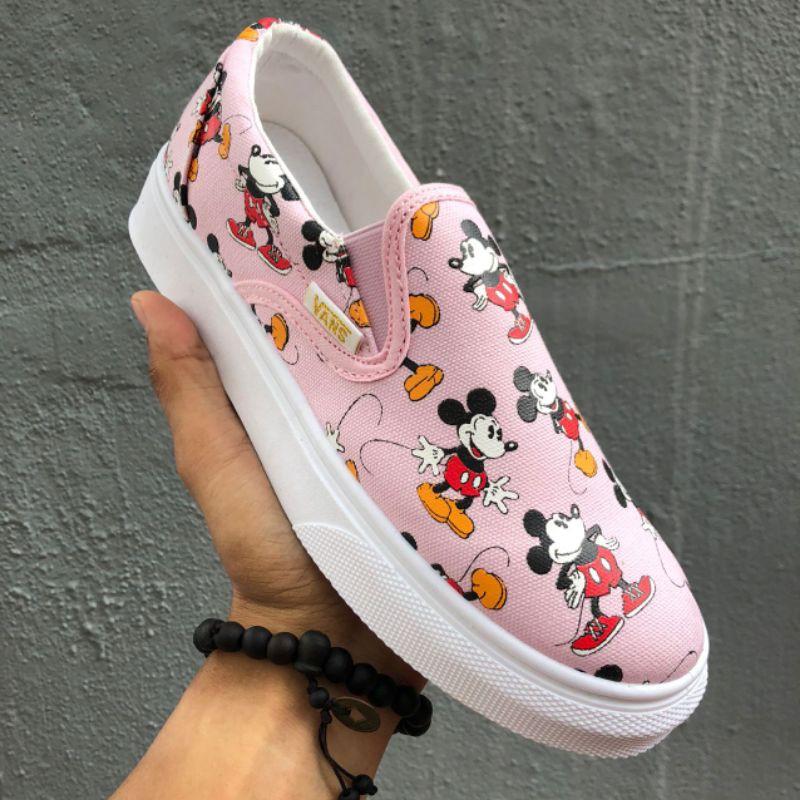 Vans Slip-On Mickey Low Top Women\'s Casual Shoes, Sneakers Sport Shoes Kasut Wanita- 36-40 EURO