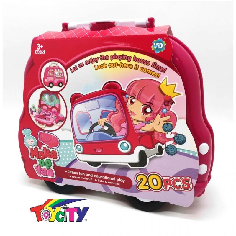 CHILDREN PORTABLE 2 IN 1BAG AS CAR 20PCS MAKE UP VAN CASE FUN TOY PLAYSET FOR GIRL