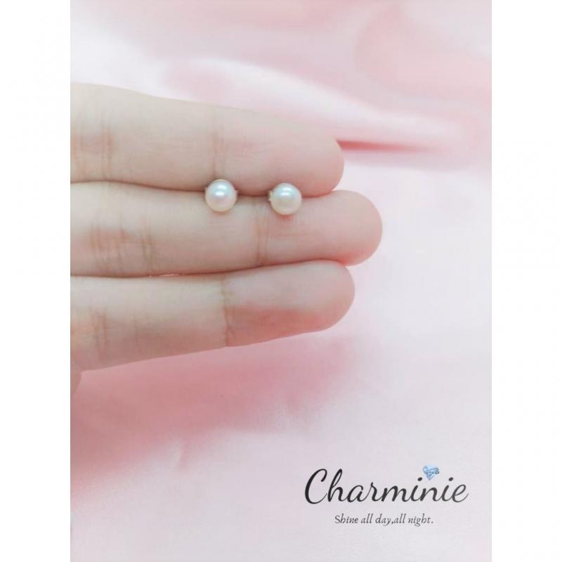 Pure Sliver 925 Pearl (3mm) earrings-Charminie