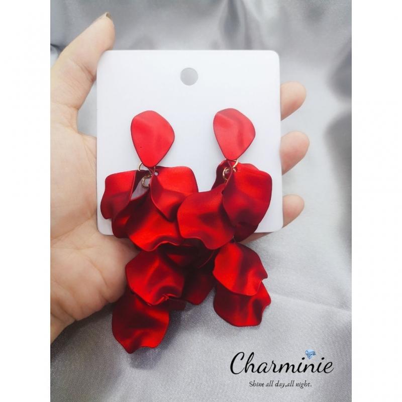 Korean style hyperbole style with Rose petal earrings-Charminie