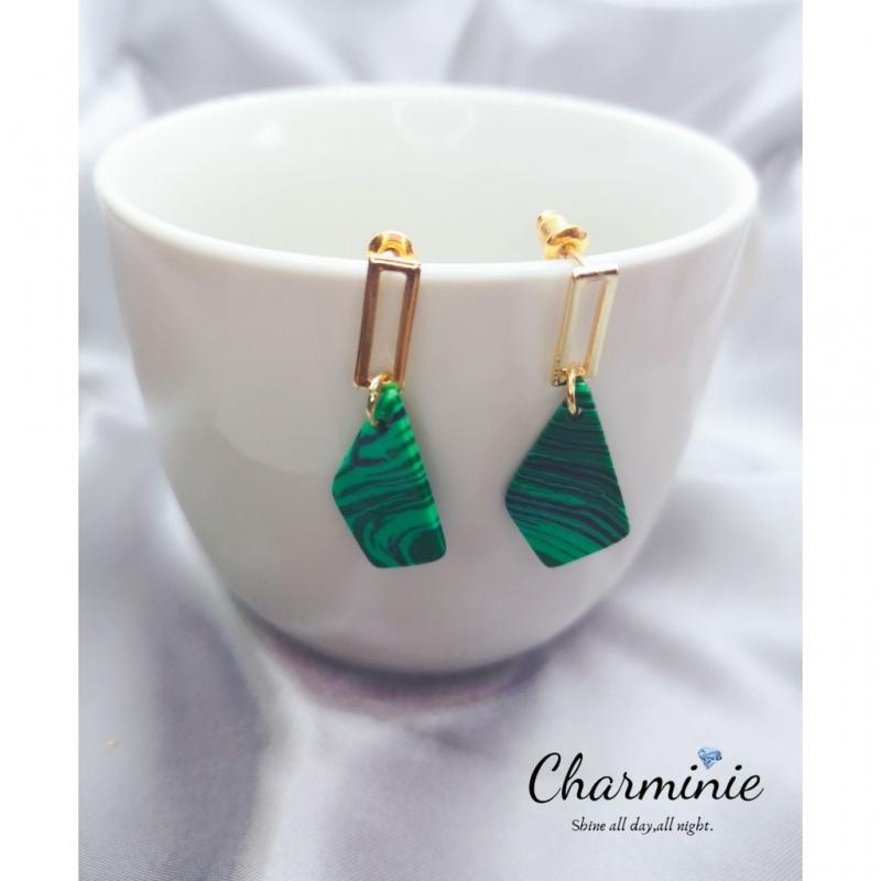 Western style fashionable earrings (Green)-Charminie