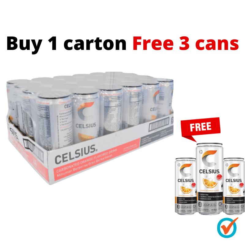 BUY 1 Carton Celsius Sparkling Orange 325ml FREE 3 Cans