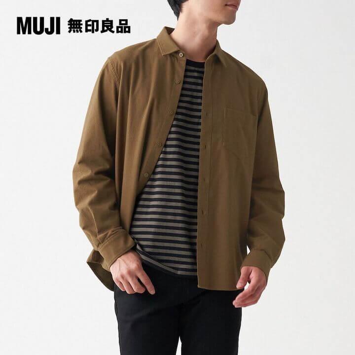 【MUJI 無印良品】男有機棉法蘭絨襯衫棕色