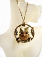 Hot Vintage Style Bronze Metal Alloy Cubic Zirconia Owl Pendant Necklace Jewelry