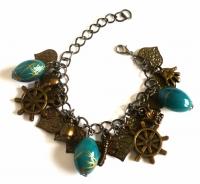 Handmade Vintage New Style Bronze Metal Dangle Bracelet - Turquoise Beads, Leaves & more