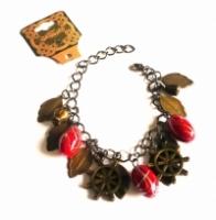 Handmade Vintage New Style Bronze Metal Dangle Bracelet - Cherry Red Beads, Leaves & more