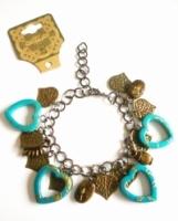 Handmade Vintage New Style Bronze Metal Dangle Bracelet - Turquoise Hearts, Leaves & more