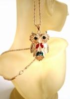Rose Gold Plated Titanium Long Necklace CZ Rhinestone Owl Pendant