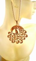 Rose Gold Plated Titanium Long Necklace CZ Rhinestone Peacock Pendant
