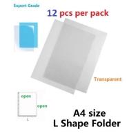 12 pieces A4 transparent clear L shape folder file