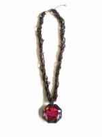 Fashion Elegant Multi-strand Beaded Necklace with Polygon Pendant